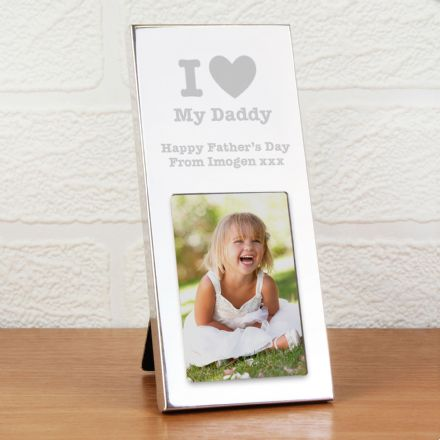 I Heart 3x2 Silver Photo Frame